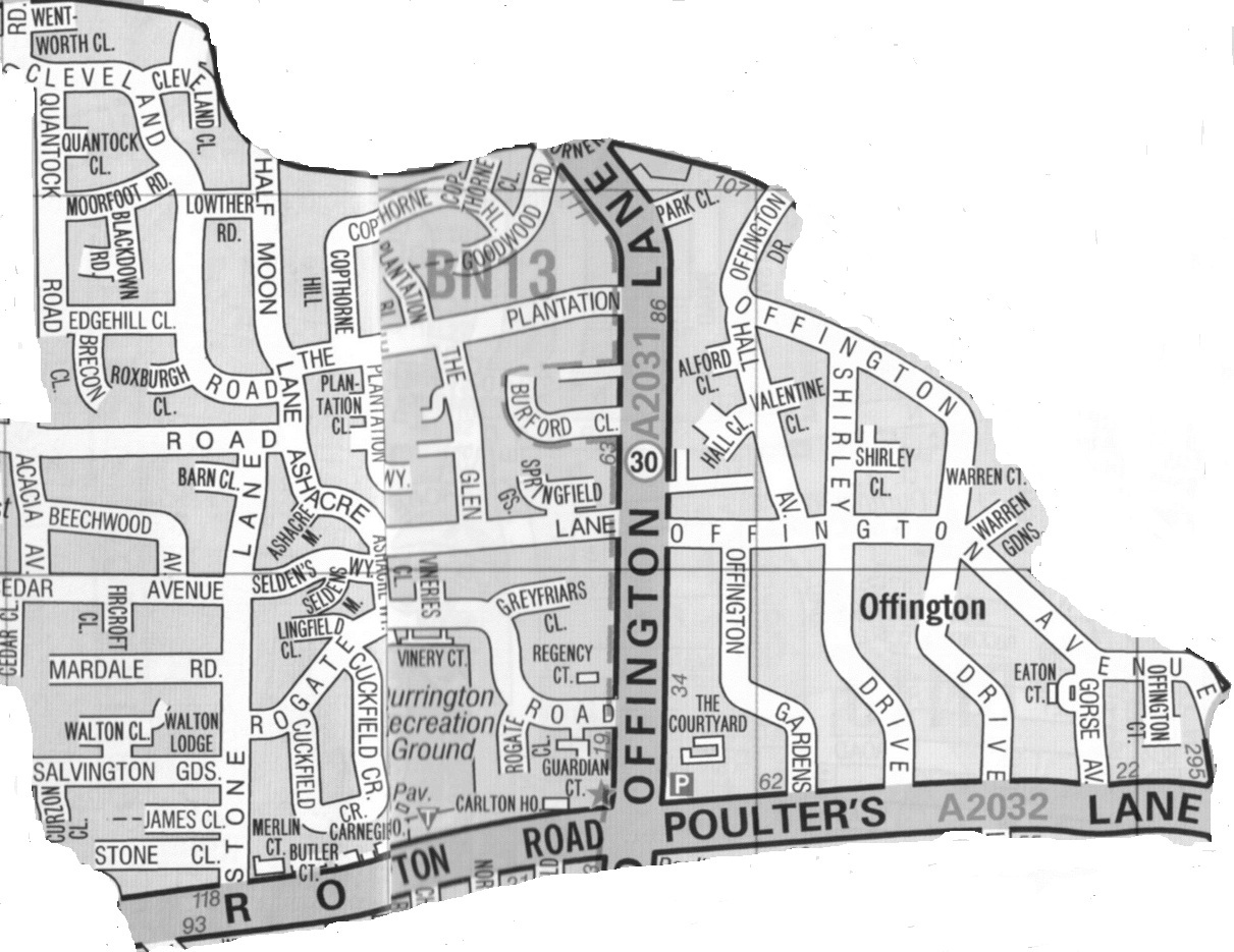 Worthing Direct Leaflet Distribution Services - Offington delivery area map