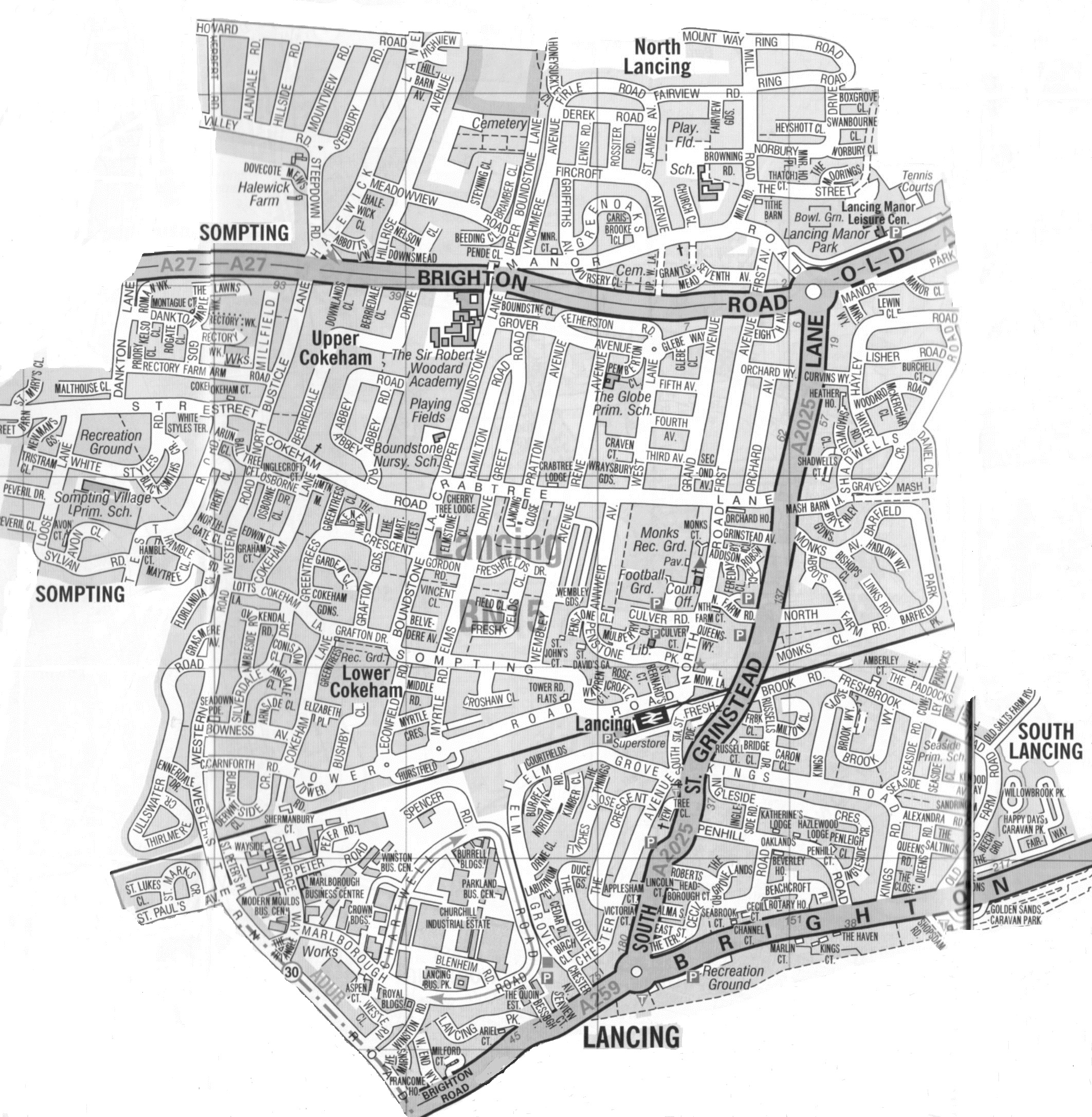 Worthing Direct Leaflet Distribution Services Lancing & South Lancing delivery area map